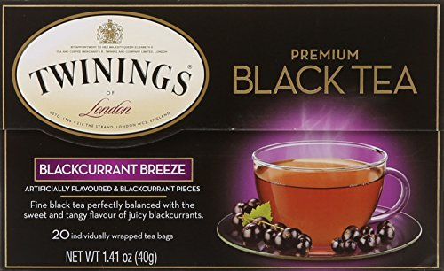 Twinings of London Blackcurrant Tea Bags, 20 Count Black Currant Flavored Tea