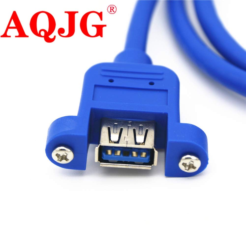 Cable Length: 150cm Computer Cables USB 3.0 Male to Female Extension Cable with Panel Mount Screw Hole Lock Connector Adapter Cord for Computer Blue Wholesale