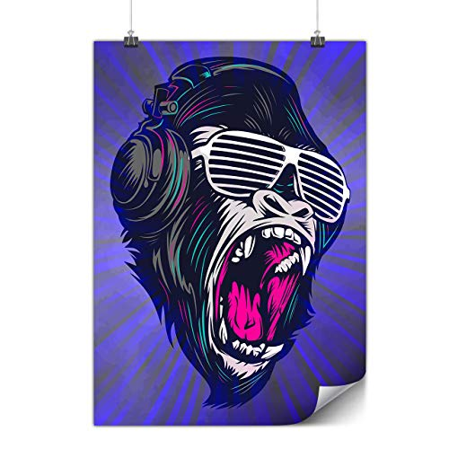(wellcoda Monkey DJ Beat Poster Cool A2 (17″ x 23″) Matte Heavy Weight Paper, Ideal for Framing, Easy to Hang Art)