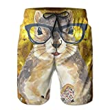 I Like Exercise Nerdy Squirrel with Glass and Dessert Men's Beach Shorts Printed Quick Dry Board Shorts Large