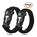 Cos2be 5 In 1 Survival Bracelet, Multifunctional Outdoor Paracord Survival Gear Parachute Cord W Fire Starter Scraper Compass Whistle - Black(9inch + 8inch)