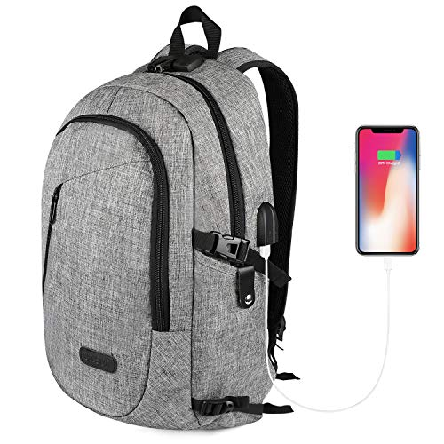 Anti Theft Laptop Backpack, Business Water Resistant Backpack Travel Computer Bag USB Charging Port & Headphone Interface Men&Women College Student,Fits 17 Inch Laptop Notebook -Gray