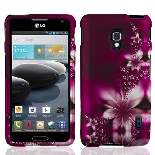 LF Hard Case Protector Cover, Screen Protector & Screen Droid Wiper for (MetroPCS, T-Mobil) LG D500 MS500 (Optimus F6) (Purple Daisy) - T Mobil Lg Phone