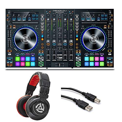 Denon DJ MC7000 4-Channel Serato DJ Controller/Digital Mixer with Dual USB + Numark Red Wave Carbon Professional-Level DJ Headphones & Hosa Type A to Type B High Speed USB Cable