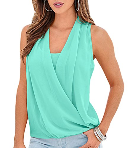 COMVIP - Camiseta - Básico - Sin mangas - para mujer Verde