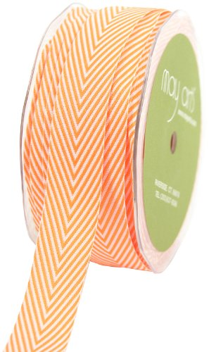 May Arts 3/4-Inch Wide Ribbon, Orange Twill with Chevron Stripes by May Arts