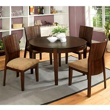 Ottawa Transitional Style Walnut Finish 5 Piece Round Dining Table Set