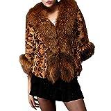 Kemilove Womens Leopard Sexy Faux Fur Jacket Coat Long Sleeve Overcoat Outwear Tops