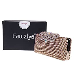 Fawziya Crown Clutch Purse Bling Hard Box Rhinestone Crystal Clutch Bag-AB Gold