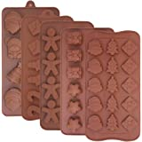 5 Pcs Christmas Silicone Chocolate Molds, FineGood Candy Jelly Baking Trays for Holiday Party Cake Decoration Ice Cube Making