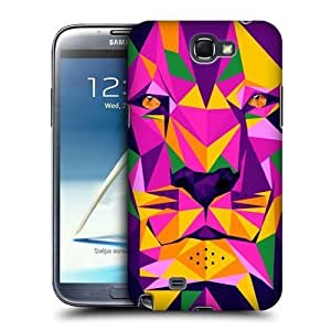 AIYAYA Samsung Case Designs Tiger Geometric Animals Protective Snap-on Hard Back Case Cover for Samsung Galaxy Note 2 II N7100