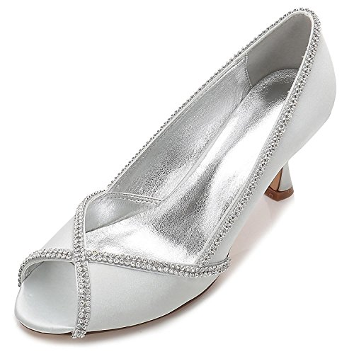 Sandali E In Scarpe Raso 14 Donna Con Silver Tacco Punta Di yc A L Basso Sposa Da E17061 Aperta Diamante A6wRnq0P