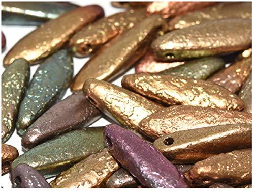 50 beads Czech Glass Dagger Beads 5x16mm, Etched Purple Iris Gold]()