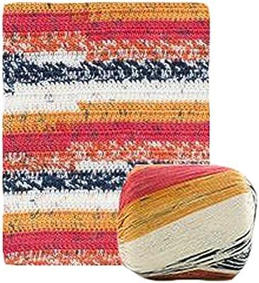 Pigeon Fleet 2 madejas Hilo de Encaje Hilo de algodón Hilo de Ganchillo para alfombras de Tejer a Mano Cesta, Rojo Amarillo: Amazon.es: Hogar