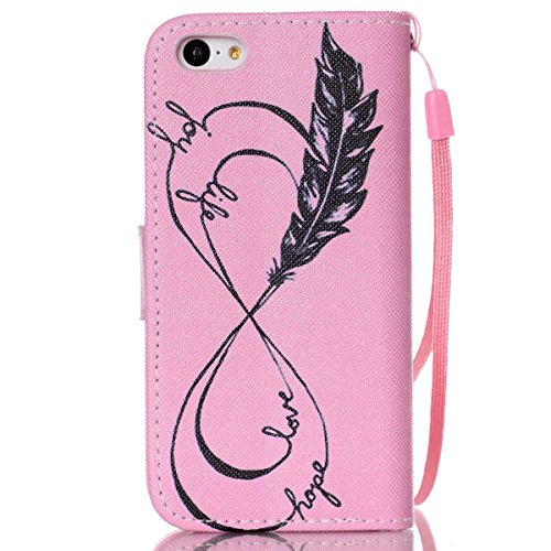 iPhone 5C Coque , Apple iPhone 5C Coque Lifetrut® [ Plume Rose Love Hope ] [Wallet Fonction] [stand Feature] Magnetic snap Wallet Wallet Prime Flip Coque Etui pour Apple iPhone 5C