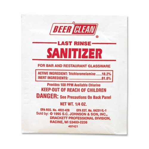 Diversey 90223 Beer Clean Last Rinse Sanitizer, 0.25 oz. Packet (Case of 100)