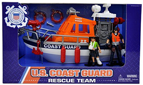 Coast Boat - United States Coast Guard Rescue Boat Playset with 2 Action Figures