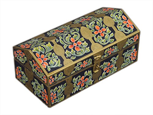 Hand Painted Wooden Jewelry Box Multipurpose Keepsake Storage Organizer Box with Hand Painted Floral Design - 8 x 2.5 x 2 Inches