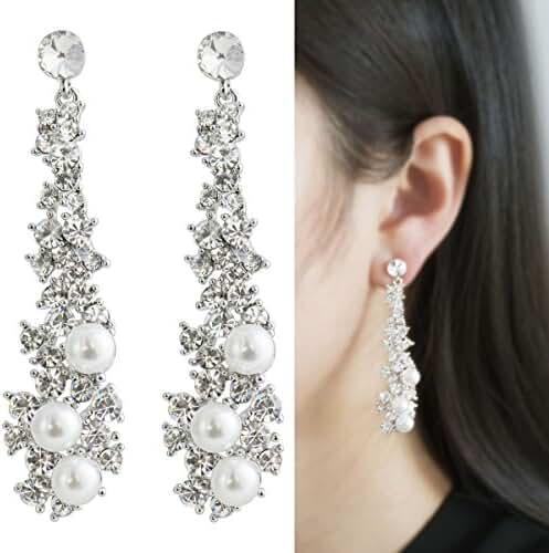Waterfall Earrings-CIShop UltraSparkling Long Pearl earrings with Diamonds-Supper Beauty