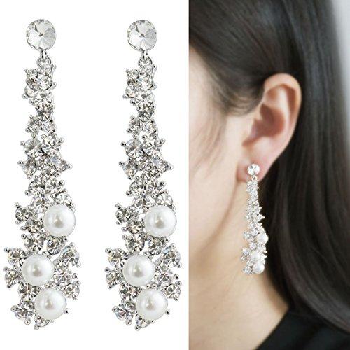 Waterfall Earrings-CIShop UltraSparkling Long Pearl earrings with Diamonds-Supper Beauty Silver Tone (Pearl Silver Tone)