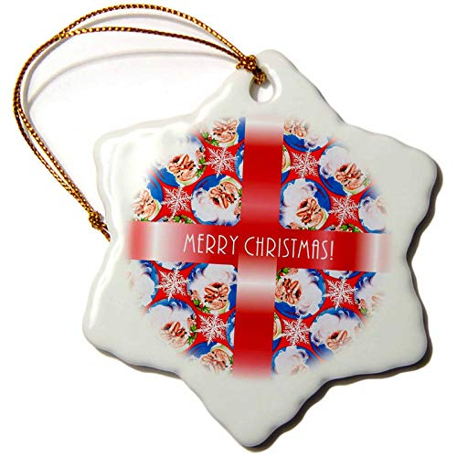 (3dRose Russ Billington Christmas Designs - Image of Santa Wallpaper Background with White Text on Red Ribbon - 3 inch Snowflake Porcelain Ornament (ORN_298881_1))