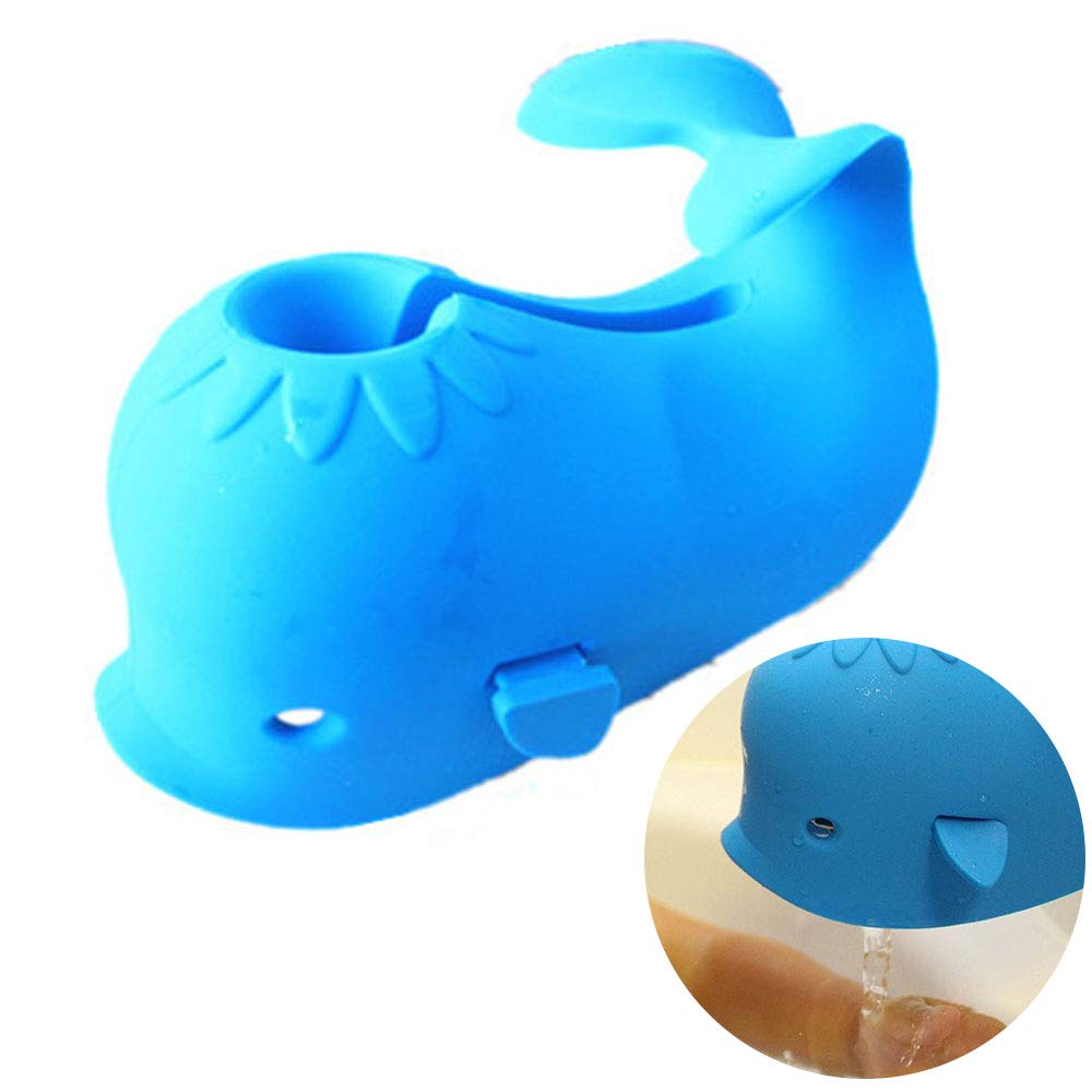 Bath Spout Faucet Cover Bath Faucet Extender Rubber Dolphin Faucet Cover Tub Faucet Cover Faucet Protector for Baby by TIANNUOFA(Blue)