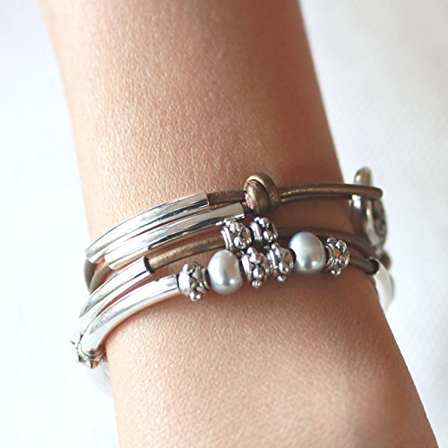 Lizzy James Mini Charmer Metallic Bronze Leather and Silver Plate Wrap Bracelet with Freshwater Pearls (SMALL) by Lizzy James (Image #1)