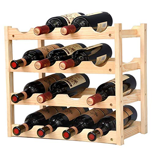 JUSTINZ Wine Rack, DIY Nature Bamboo Wine Display Rack, Free Standing and Countertop Stackable Wine Storage Shelf,E
