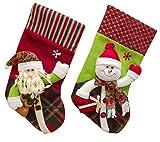 Happy Cherry 2pcs Traditional Christmas Stocking Santa Claus Snowman Gift Hanging Sock Xmas Decoration Bag - 40x20cm