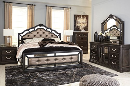 Ashley Furniture Quinshire Four Piece Mirrored Panel Bedroom Set in Queen, King or California King (Queen) (Headboard Mirrored Set)