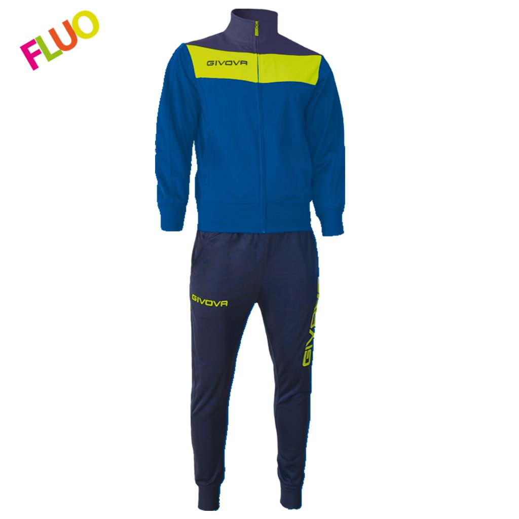 TALLA 2XL. Givova, chandal campo fluo, azul/amarillo fluo, 2XL