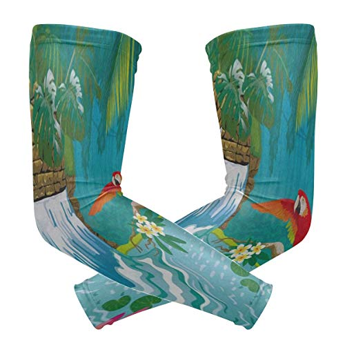 Hummingbird Golf (Arm Sleeve Tropical Landscape With Waterfall Hummingbird Flying Sports Compression/UV Protection/Dry-Fast Breathable/Warmth for Men Women Cycling/Golf/Basketball 1 Pair)