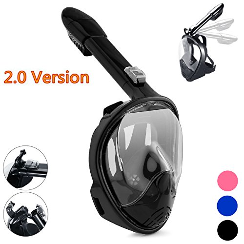 Qwer Full Face Snorkel Mask,New Foldable Snorkeling Mask with Detachable Camera Mount Pivot Arm and Earplug, 180