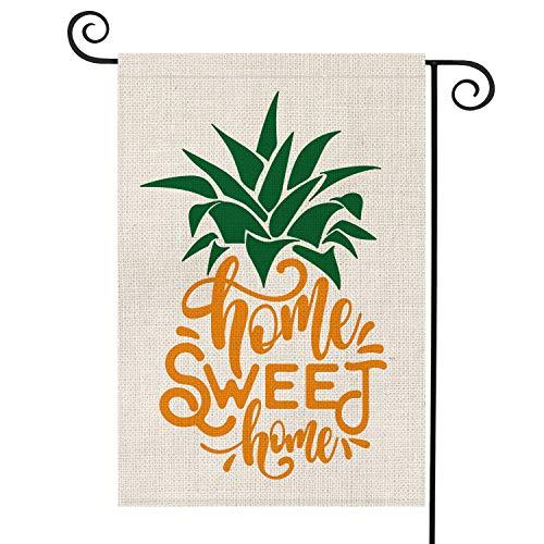 AVOIN Home Sweet Home Pineapple Garden Flag Vertical Double Sided, Seasonal Summer Rustic Hawaiian Burlap Yard Outdoor Decoration 12.5 x 18 Inch