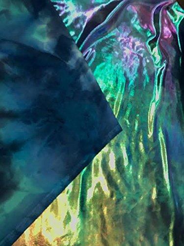 Tie Dye Metallic Mystique 4 Way Stretch Spandex Fabric - Blues (Mystique Costumes)
