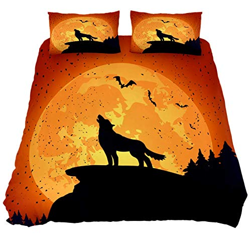 LORVIES Halloween Background with Wolf Duvet Cover Sets, Decorative 3 Piece Bedding Sets with Pillow Shams for Men Women Boys Girls Kids Teens -