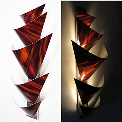 "Modern Abstract Metal Wall Art Sculpture Lamp LED Accent Lighting Orange Red ""Aurora Torchiere, Orange"" Painting Home Decor"