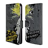 Official 5 Seconds Of Summer Mirrored Yellow Punk Leather Book Wallet Case Cover For HTC One M7
