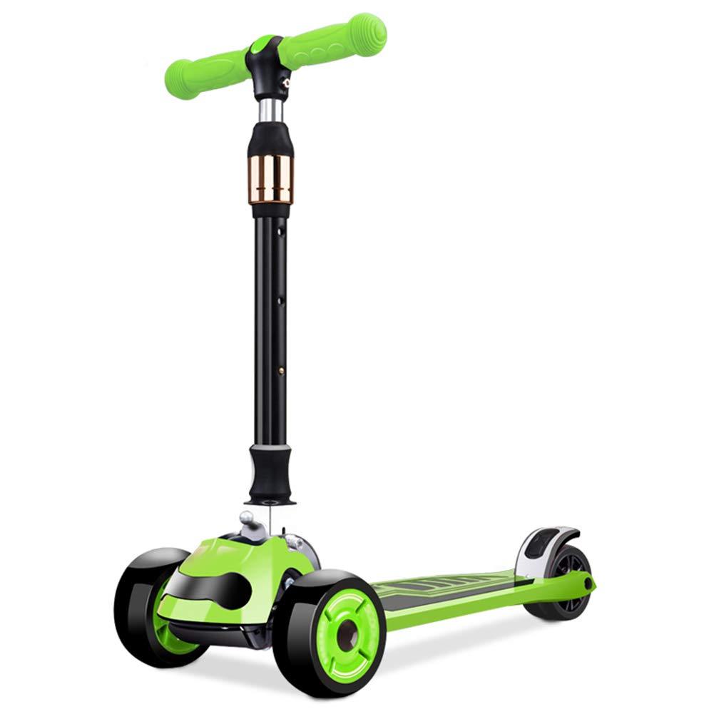 新発売の キックスクーター三輪車スケートボードペダル式乗用スタントスクーター最初のスクーター折りたたみTバーハンドルLEDライトアップホイール付き調節可能な Green B07H7GL3KF B07H7GL3KF Green Green Green, チャレンジマリン:c7698cab --- a0267596.xsph.ru