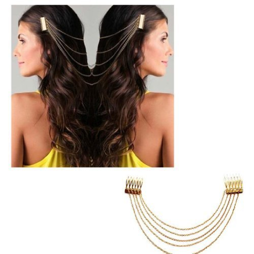 Lucky Electronic Chic Hair Cuff Pin Head Band Chains 2 Combs Tassels Fringes Boho Punk(gold) (Style 1)