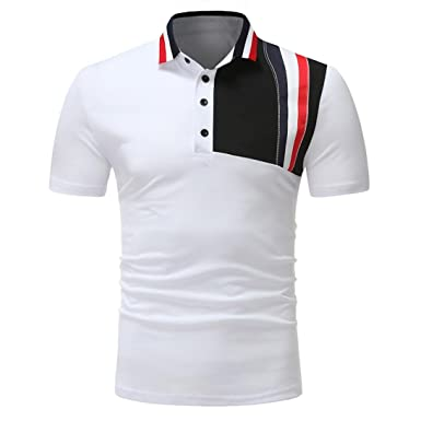 ❤️OHQ Camisa De Blusa De Hombre Polo Top De Camiseta De Costura ...