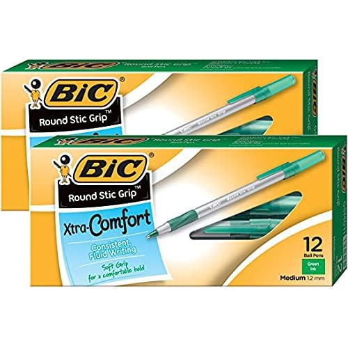 BIC Round Stic Grip Xtra Comfort Ball Pen Medium Pt 1.2mm Green 2DOZEN GSMG11GN for sale