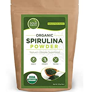#1 Organic Spirulina Powder, *FLASH SALE 50% Discount* Purest Source & Maximum Nutrient Density, Vegan Protein, USDA Certified, FREE Recipe Book! ...