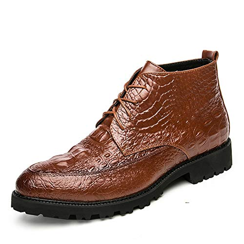 HONGkeke Men's Fashion Ankle Boots Casual Crocodile Texture Pure Color Lace-up High Top Boot Durable (Color : Brown, Size : 7.5 D(M) US) ()