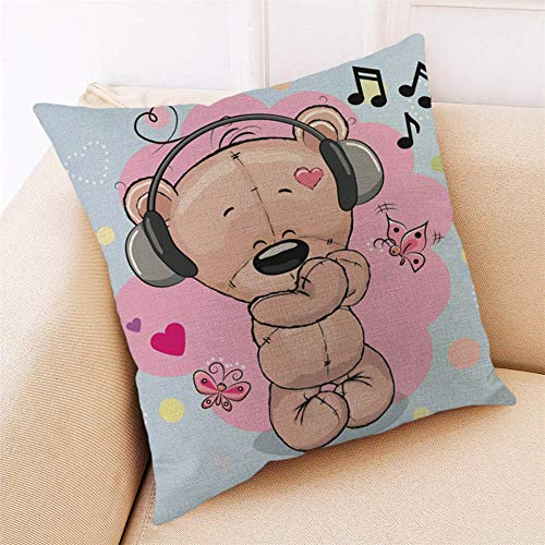 (Throw Pillow Cover, DaySeventh Happy Valentine Pillow Cases Cotton Linen Sofa Cushion Cover Home Decor 18x18 Inch 45x45 cm)