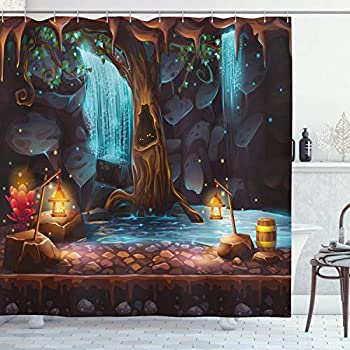 Ambesonne Fantasy Decor Shower Curtain by, Enchanted Forest with Cave Waterfall and Magic Tree Barrel of Gold Elf Image, Fabric Bathroom Decor Set with Hooks, 84 Inches Extra Long, Brown Blue