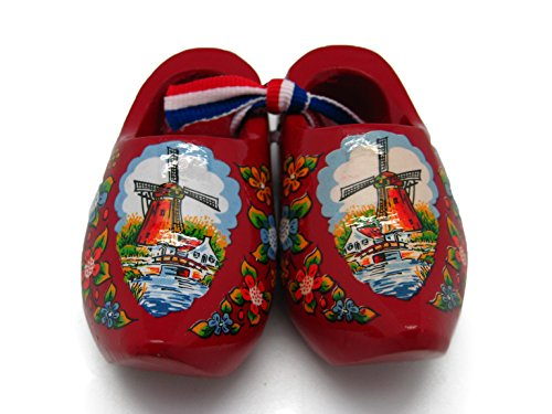 Detailed Clogs - Decorative Wooden Shoe Clogs Dutch Landscape Design Red (3.25