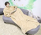 Fleece Blanket Cozy Wrap Warm Throw Travel Plush Fabric With Sleeves As Seen On TV