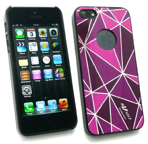 Emartbuy ® Apple Iphone 5 Rhombus Pink / Violett Clip On Protection Case / Cover / Skin