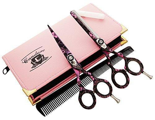 CANDURE - Geschenkset Friseur & Dünner Werdendes Haar-Schere Friseur Schere + Scheren Tasche, Pinke Blumen Set